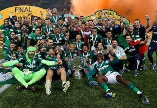 Jogadores e equipe técnica do time ainda em campo, todos juntos, comemorando o título de campeões da Copa do Brasil